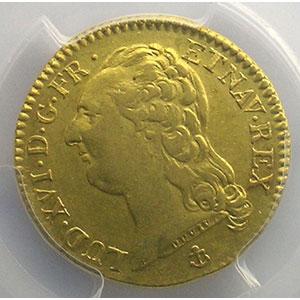 Numismatic foto  Münzen Französische königlische Münzen Louis XVI   (1774-1792) G.361   Louis d'or au buste nu 1786 H  (La Rochelle)  1er sem.    PCGS-AU55    TTB+/SUP