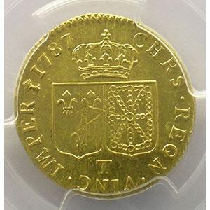Numismatic foto  Münzen Französische königlische Münzen Louis XVI   (1774-1792) G.361   Louis d'or au buste nu 1787 T  (Nantes)  2° sem.    PCGS-AU53    TTB+