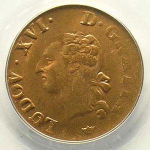 Numismatic foto  Münzen Französische königlische Münzen Louis XVI   (1774-1792) G.348   Liard 1789 M  (Toulouse)    PCGS-MS64RB    pr.FDC