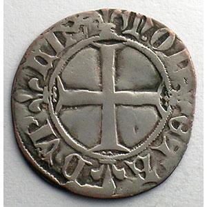 Numismatic foto  Münzen Französische königlische Münzen Charles VI   (1380-1422) Duplessy 393   Double Tournois 1ère émission   11 mars 1385    TB+