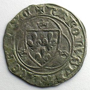 Numismatic foto  Münzen Französische königlische Münzen Charles VII   (1422-1461) Duplessy 519   Blanc à la couronne CI   Chinon    TB+/TTB