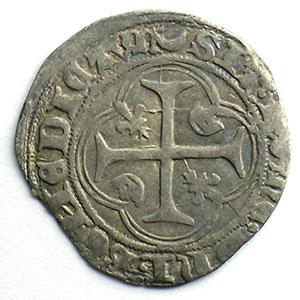 Numismatic foto  Münzen Französische königlische Münzen Charles VII   (1422-1461) Duplessy 519   Blanc à la couronne croissant et étoile   Chalon-en-Champagne    TB+/TTB