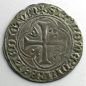 Numismatic foto  Münzen Französische königlische Münzen Charles VII   (1422-1461) Duplessy 519   Blanc à la couronne point 11°   Saint Pourçain    TB+/TTB