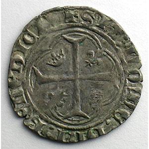 Numismatic foto  Münzen Französische königlische Münzen Charles VII   (1422-1461) Duplessy 519   Blanc à la couronne point 1er   Crémieu    TB+