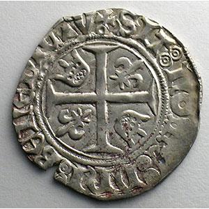 Numismatic foto  Münzen Französische königlische Münzen Charles VI   (1380-1422) Dupl. 377D   Blanc Guénar, 5° émission Point sous la croisette   Paris    TTB