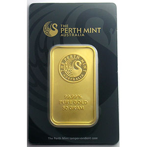 Numismatic foto  Münzen Gold & Silber Goldbarren Lingotin de 50 g Lingotin 50 g or 999,9 mill.   Perth Mint Australia     NEUF sous blister numéroté