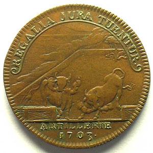 Numismatic foto  Münzen Jetons und Medaillen Jetons des alten Regims Artillerie jeton en cuivre   29mm   Louis Aug. de Bourbon    TB+/TTB