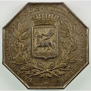 Numismatic foto  Münzen Jetons und Medaillen Numismatik der Versicherungsgesellschaften La Rouennaise Jeton octogonal en argent   1847   Incendie    TTB+/SUP