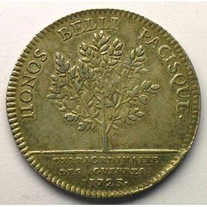 Numismatic foto  Münzen Jetons und Medaillen Jetons des alten Regims Extraordinaire des Guerres jeton rond en argent   Louis XV   1723    TTB