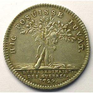 Numismatic foto  Münzen Jetons und Medaillen Jetons des alten Regims Extraordinaire des Guerres jeton rond en argent   Louis XV   1729    TTB