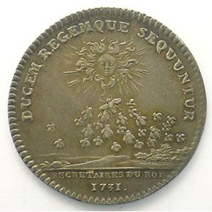 Numismatic foto  Münzen Jetons und Medaillen Jetons des alten Regims Secrétaires du Roi jeton rond en argent   Louis XV   1731    SUP