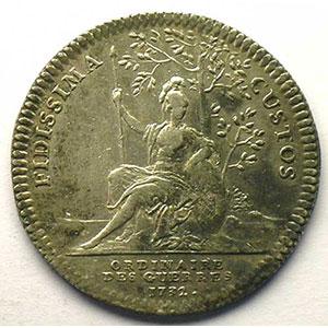 Numismatic foto  Münzen Jetons und Medaillen Jetons des alten Regims Ordinaire des Guerres jeton rond en argent   Louis XV   1732    TTB+