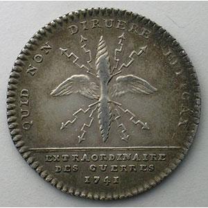Numismatic foto  Münzen Jetons und Medaillen Jetons des alten Regims Extraordinaire des Guerres jeton rond en argent   Louis XV   1741    TTB/TTB+