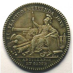 Numismatic foto  Münzen Jetons und Medaillen Jetons des alten Regims Artillerie et Génie jeton rond en argent   Louis XV    SUP  rayures à l'avers