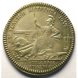 Numismatic foto  Münzen Jetons und Medaillen Jetons des alten Regims Artillerie et Génie jeton rond en argent   Louis XVI    TTB+