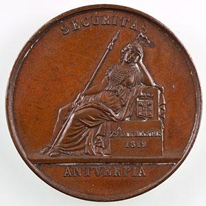 Numismatic foto  Münzen Jetons und Medaillen Numismatik der Versicherungsgesellschaften Securitas Antverpia Jeton rond en bronze   30mm   1819   Anvers    TTB+