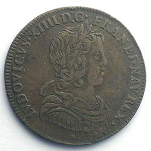 Numismatic foto  Münzen Jetons und Medaillen Jetons des alten Regims Conseil du Roi Jeton rond en cuivre   Louis XIV    TTB+