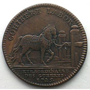 Numismatic foto  Münzen Jetons und Medaillen Jetons des alten Regims Extraordinaire des Guerres jeton rond en cuivre   Louis XV   1725    TTB/TTB+