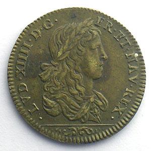 Numismatic foto  Münzen Jetons und Medaillen Jetons des alten Regims Conseil du Roi Jeton rond en cuivre module 25mm   Louis XIV    TTB+