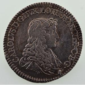 Numismatic foto  Münzen Lothringische Münzen Herzogtum von Lothringen Charles IV réintégré   (1661-1670) Demi-teston   1663  (Nancy)    TB+