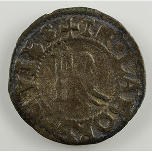 Numismatic foto  Münzen Lothringische Münzen Bistum von Metz Robert von Lenoncourt   (1551-1555) Double denier de billon   Vic-sur-Seille    TB/TB+