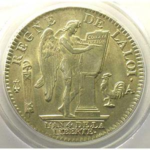 Numismatic foto  Münzen Münzen aus der französischen Revolution G.55   Ecu de 6 Livres François 1792 A  2° sem.  (Paris)    PCGS-MS62    SUP/FDC
