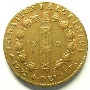 Numismatic foto  Münzen Münzen aus der französischen Revolution G.15   12 Deniers François 1792 D  (Lyon)    PCGS-AU58    SUP