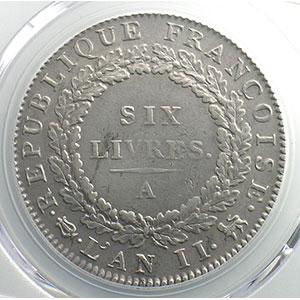 Numismatic foto  Münzen Münzen aus der französischen Revolution G.58   Ecu de 6 Livres Convention 1793 A  (Paris)  An II, sans point    PCGS-AU53    TTB+