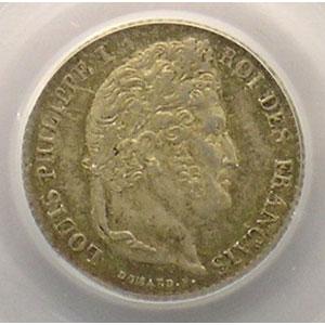 Numismatic foto  Münzen Münzen Frankreich 1793-1959 1/4 Franc G.355   Louis-Philippe I 1832 A  (Paris)    PCGS-MS64    pr.FDC