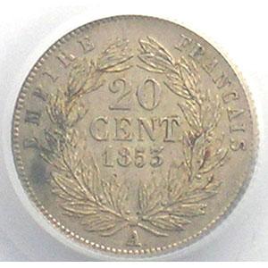 Numismatic foto  Münzen Münzen Frankreich 1793-1959 20 Centimes G.305   Napoléon III tête nue 1853 A  (Paris)    PCGS-AU58    SUP