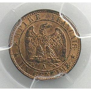 Numismatic foto  Münzen Münzen Frankreich 1793-1959 1 Centime G.86   Napoléon III tête nue 1853 A  (Paris)    PCGS-MS65RB    FDC