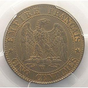 Numismatic foto  Münzen Münzen Frankreich 1793-1959 5 Centimes G.152   Napoléon III tête nue 1853 W  (Lille)    PCGS-MS64BN    pr.FDC