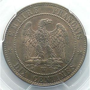 Numismatic foto  Münzen Münzen Frankreich 1793-1959 10 Centimes G.248   Napoléon III tête nue 1853 W  (Lille)    PCGS-MS64RB    pr.FDC