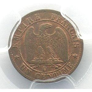Numismatic foto  Münzen Münzen Frankreich 1793-1959 1 Centime G.86   Napoléon III tête nue 1857 D  (Lyon)    PCGS-MS63BN    SUP/FDC