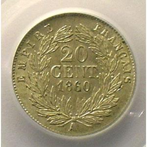 Numismatic foto  Münzen Münzen Frankreich 1793-1959 20 Centimes G.305   Napoléon III tête nue 1860 A  (Paris)    PCGS-AU58    SUP