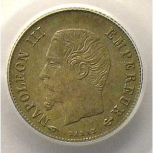 Numismatic foto  Münzen Münzen Frankreich 1793-1959 20 Centimes G.305   Napoléon III tête nue 1860 A  (Paris)    PCGS-MS63    SUP/FDC