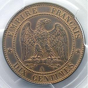 Numismatic foto  Münzen Münzen Frankreich 1793-1959 10 Centimes G.253   Napoléon III tête laurée  1862 A  (Paris)    PCGS-MS63BN    SUP/FDC