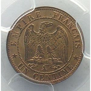 Numismatic foto  Münzen Münzen Frankreich 1793-1959 1 Centime G.87   Napoléon III tête laurée 1862 A  (Paris)    PCGS-MS63RB    pr.FDC