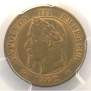 Numismatic foto  Münzen Münzen Frankreich 1793-1959 2 Centimes G.104   Napoléon III tête laurée 1862 grand BB  (Strasbourg)    PCGS-MS63RB    SUP/FDC