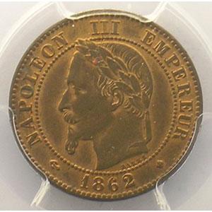 Numismatic foto  Münzen Münzen Frankreich 1793-1959 2 Centimes G.104   Napoléon III tête laurée 1862 petit BB  (Strasbourg)    PCGS-MS64RB    pr.FDC