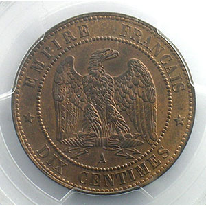 Numismatic foto  Münzen Münzen Frankreich 1793-1959 10 Centimes G.253   Napoléon III tête laurée  1863 A  (Paris)    PCGS-MS63RB    SUP/FDC