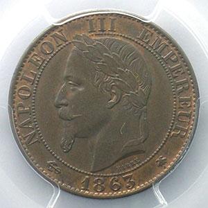 Numismatic foto  Münzen Münzen Frankreich 1793-1959 5 Centimes G.155   Napoléon III tête laurée 1863 A  (Paris)    PCGS-MS65BN    FDC