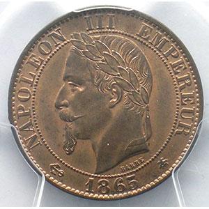 Numismatic foto  Münzen Münzen Frankreich 1793-1959 5 Centimes G.155   Napoléon III tête laurée 1865 A  (Paris)    PCGS-MS65RB    FDC