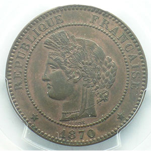 Numismatic foto  Münzen Münzen Frankreich 1793-1959 10 Centimes G.265   Cérès 1870 A  (Paris)  A moyen    PCGS-AU58    SUP