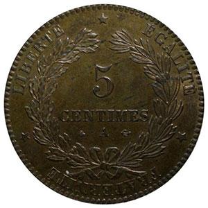 Numismatic foto  Münzen Münzen Frankreich 1793-1959 5 Centimes G.157   Cérès 1871 A  (Paris)    PCGS-MS64RB    pr.FDC
