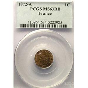 Numismatic foto  Münzen Münzen Frankreich 1793-1959 1 Centime G.88   Cérès 1872 A  (Paris)    PCGS-MS63RB    SUP/FDC