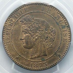 Numismatic foto  Münzen Münzen Frankreich 1793-1959 10 Centimes G.265   Cérès 1873 A  (Paris)    PCGS-MS63RB    SUP/FDC