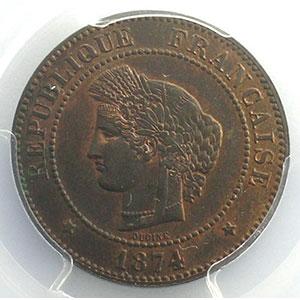 Numismatic foto  Münzen Münzen Frankreich 1793-1959 5 Centimes G.157a   Cérès 1874 A (Paris)    PCGS-MS64RB    pr.FDC
