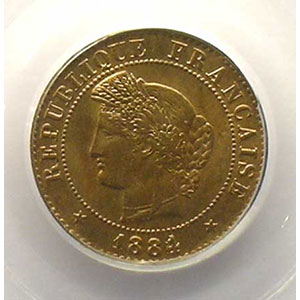 Numismatic foto  Münzen Münzen Frankreich 1793-1959 1 Centime G.88   Cérès 1884 A  (Paris)    PCGS-MS65RB    FDC