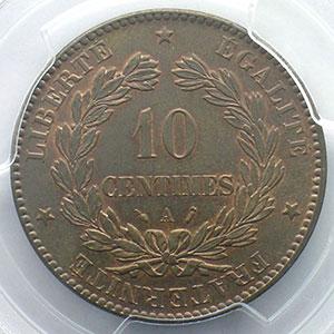 Numismatic foto  Münzen Münzen Frankreich 1793-1959 10 Centimes G.265   Cérès 1887 A  (Paris)    PCGS-MS63BN    SUP/FDC